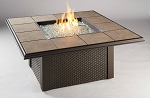 Napa Valley Fire Pit Square Table - Brown Wicker Base