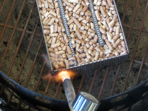 Lighting the pellets with a MAPP gas torch