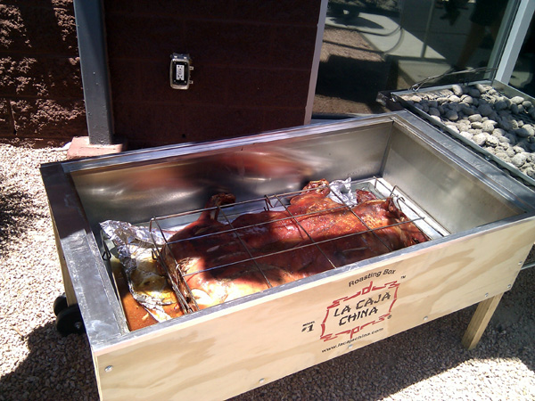 Roasted hog in the la caja china