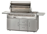 Alfresco LXE Series 56 Inch Standard Grill w/ Sideburner on Refrigerated Base - LP