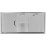 BBQ Island 42 Inch Single Door 2 Drawer Trash Rollout Combo - 260 Series