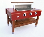 Rockwell By Caliber 60 Inch Propane Gas Grill on Cherry Wood Table - Red