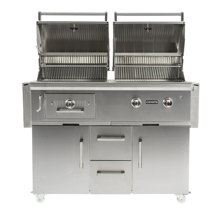 Coyote 50 Inch Hybrid Charcoal And Natural Gas Grill