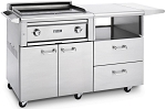 Lynx 30 Inch Asado Flat Top Natural Gas Grill on Mobile Kitchen Cart