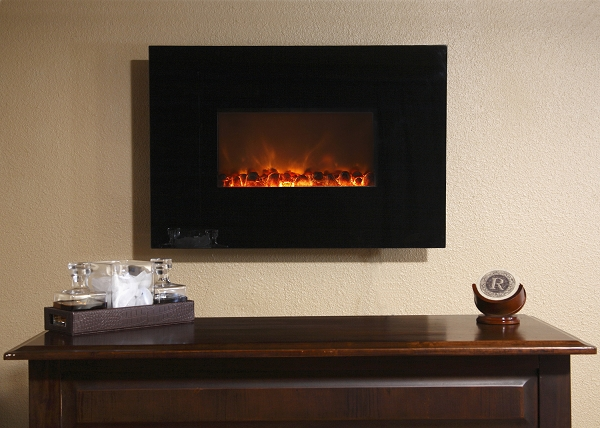 Modern flames 38 inch wall mount linear electric fireplace for Modern fireplace wall