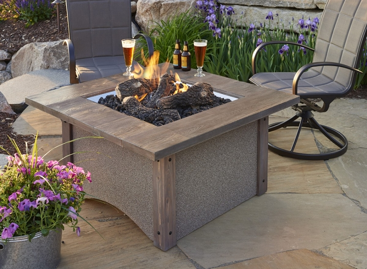 Pine ridge square fire pit table for Great outdoor room company