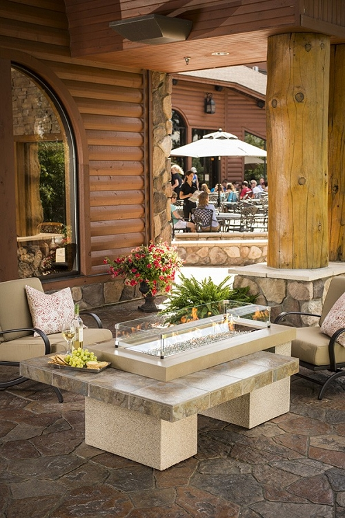 Uptown black fire pit table with granite tile top for Great outdoor room company