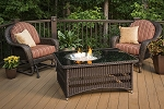Naples Fire Pit Table - Black Glass Top and Wicker Base