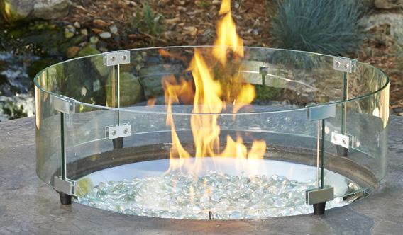 Naples fire pit table black glass top wicker base for Great outdoor room company