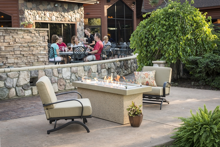 Key largo fire table polished brown supercast top for Great outdoor room company