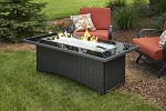 Montego Fire Pit Coffee Table - Black Top Black Wicker Base