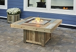 Vintage Fire Table w/Faux-Wood Tile Top