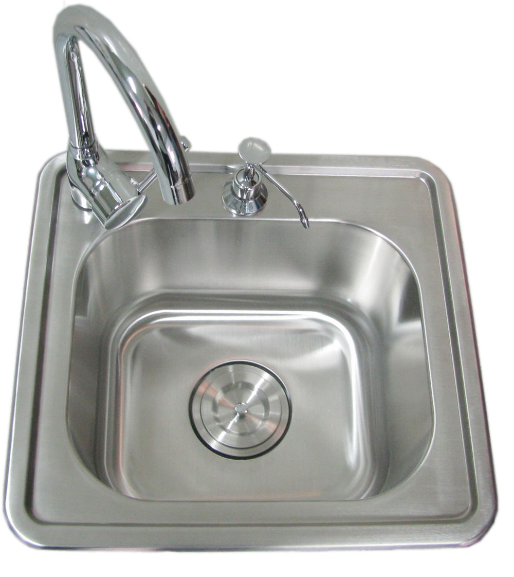Sunstone 17 Inch Single Sink with Hot & Cold Water Faucet Sink With Water