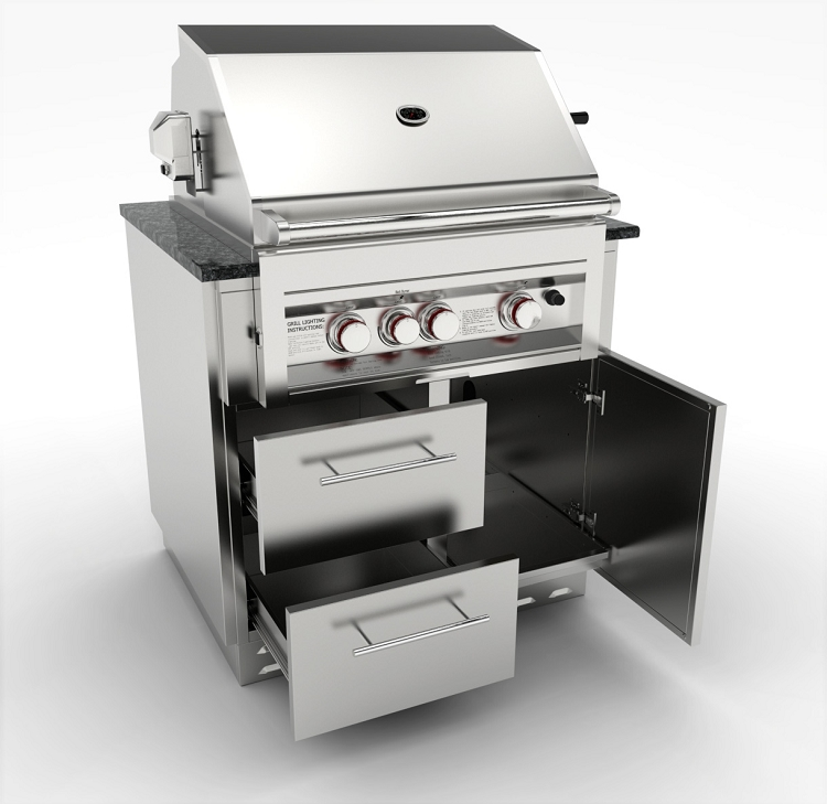 Grill Cabinet: Sunstone 34 Inch Gas Grill Base Cabinet