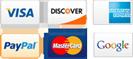Google Checkout, American Express, Visa, Discover, Paypal, Mastercard