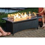 Montego Fire Pit Coffee Table w/ Black Wicker Base