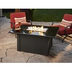 Grand Stone Fire Pit Table -  Black Metal Base / Black Granite Top