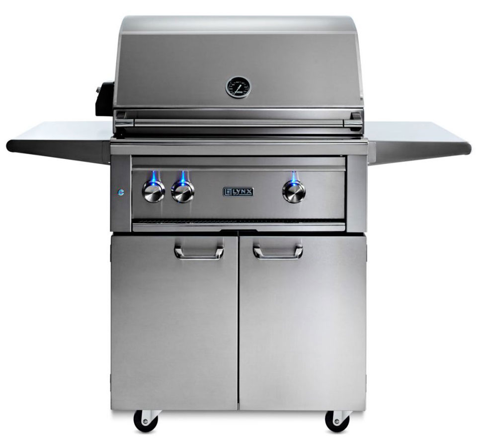 Lynx 30 Inch Professional Propane Gas Grill w/Trident Burner and Rotisserie on Cart