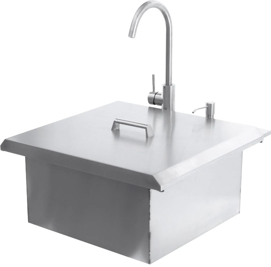 BBQ Island - 21-Inch Outdoor Rated Drop-In Bar Sink With Hot/Cold Faucet