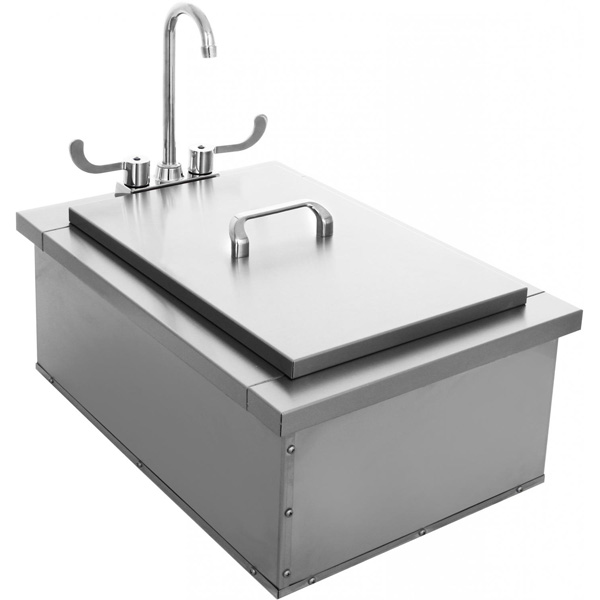 BBQ Island 15 x 24 Insulated Sink With Faucet & Condiment Tray
