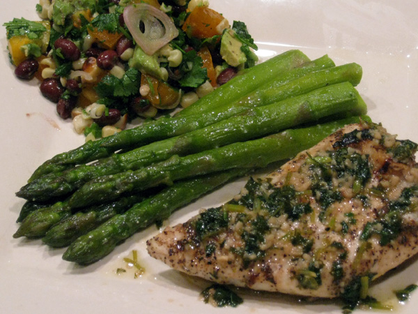 Cilantro Garlic Grilled Halibut