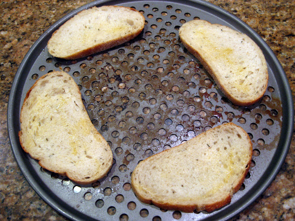 Bread Sprayed with Olive Oil