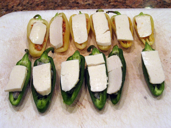 Peppers topped with Queso Fresco