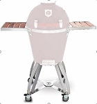 Caliber Pro Kamado Stainless Steel Cart with Hardwood Cherry insert Side Shelves