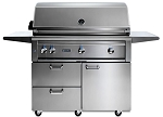 Lynx 42 Inch Professional Propane Gas Grill w/ Trident Burner and Rotisserie on Cart