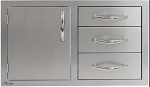 Alfresco 32-inch Combo Door plus Drawers - Left Hinge
