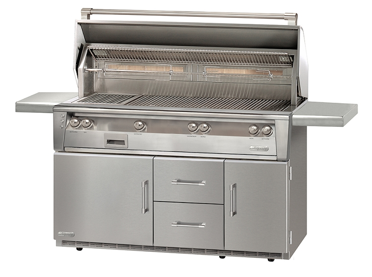 Alfresco LXE Series 56 Inch Standard Natural Gas All Grill on Refrigerated Base