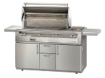 Alfresco LXE Series 56 Inch Sear Zone Grill w/ Sideburner on Deluxe Cart - NG