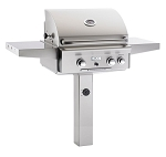 American Outdoor Grill 24 Inch Natural Gas Grill with Rotisserie and Backburner - In-Ground Post