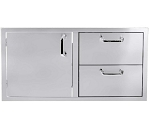 BBQ Island 260 Series - 42 Inch Single Door 2 Drawer Combo