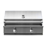 Caliber 35 Inch CrossFlame Silver Propane Gas Grill w/Rotisserie and Lights