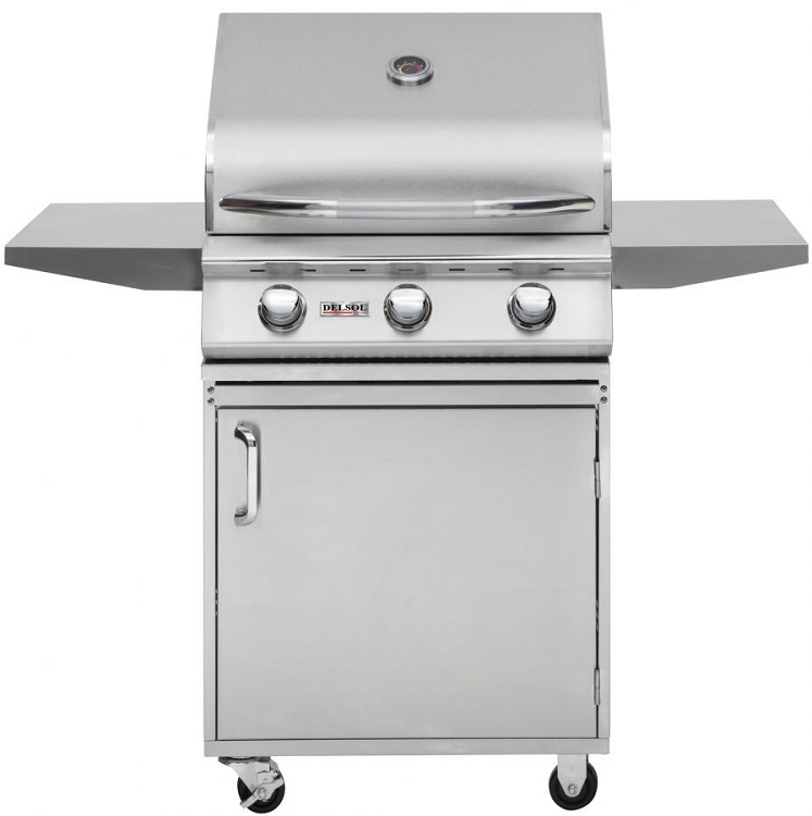 Delsol 25 Inch Propane Gas Grill on Cart
