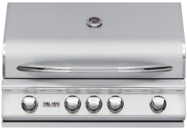 Delsol 32 Inch Propane Gas Grill with Rotisserie Burner