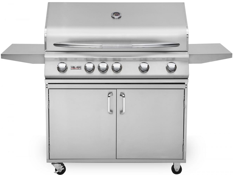 Delsol 40 Inch Propane Gas Grill on Cart with Rotisserie Burner