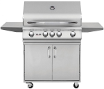 Delsol 32 Inch Natural Gas Grill on Cart with Rotisserie Burner
