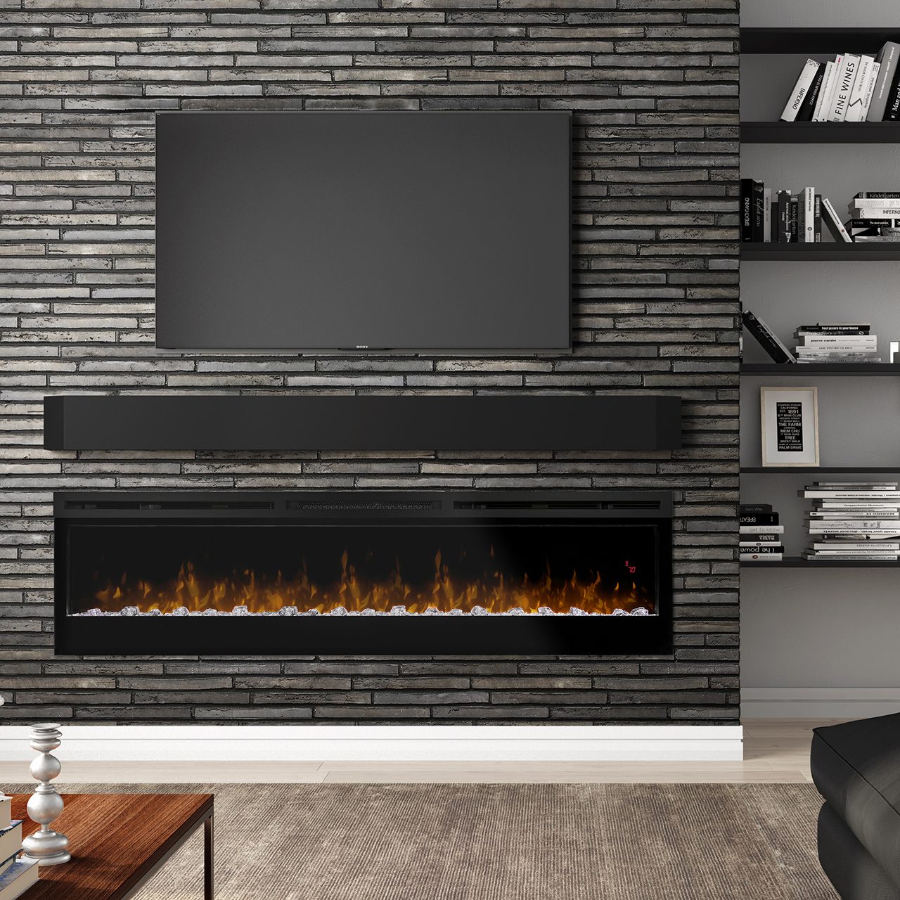 Prism Series 74 Inch Electric Linear Fireplace