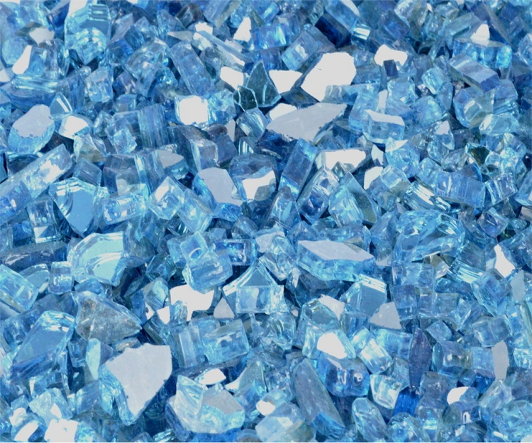 Blue Lagoon Reflective Fire Glass 1/4 Inch - 10 lbs