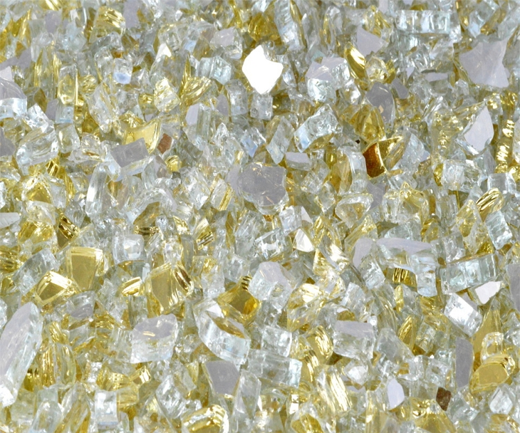 Goldrush Reflective Fire Glass 1/4 Inch - 10 lbs
