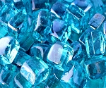 Caribbean Blue Cubed Fire Glass - 10 lbs