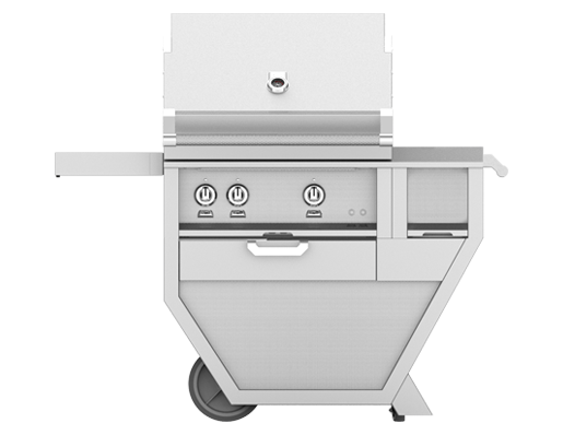 Hestan 30 Inch Propane Deluxe Grill with Double Side Burner, 2 Sear Burner