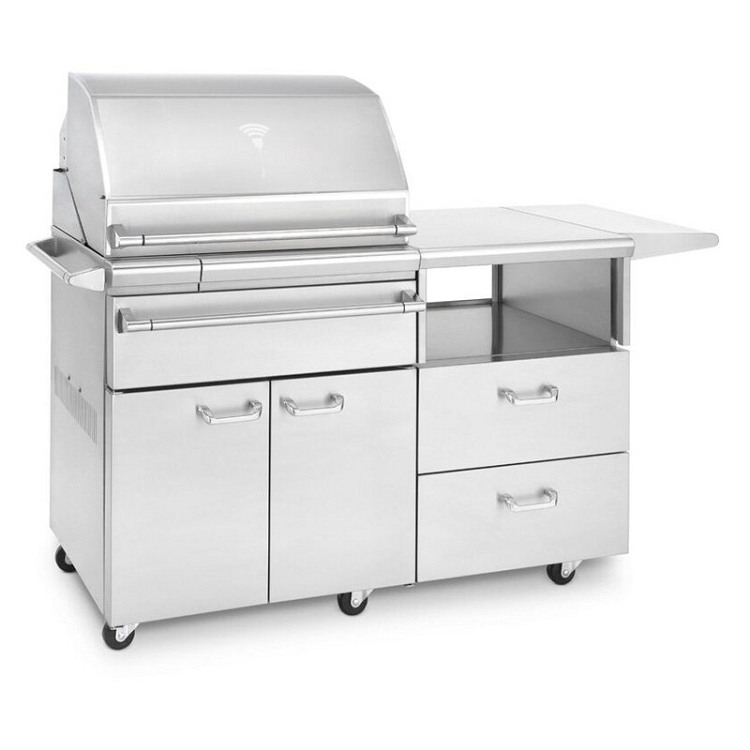 Lynx Professional Sonoma Natural Gas Smoker on Mobile Kitchen Cart
