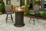 Colonial Fire Table with Artisan Acid Wash Top - Pub Height