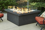 The Pointe L Shape Fire Pit Table - Midnight Mist Top