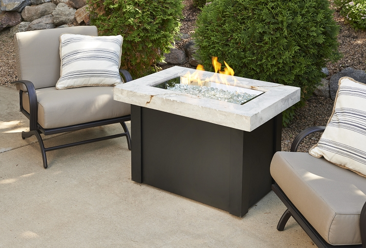 Providence fire pit table white onyx top for Great outdoor room company