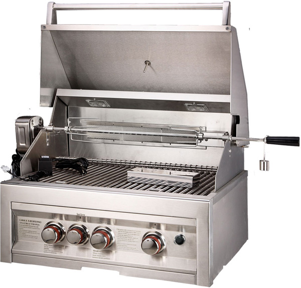 Sunstone 28 Inch Propane Gas Grill with IR Rotisserie