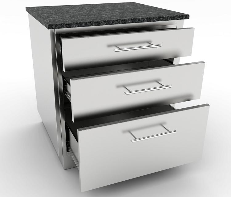Sunstone 30 Inch Large Triple Drawer Base Cabinet